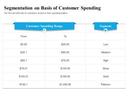 Segmentation On Basis Of Customer Spending Firm Ppt Powerpoint Portfolio Design