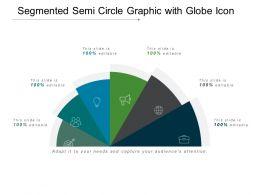 Segmented Semi Circle Graphic With Globe Icon