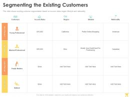 Segmenting The Existing Customers Ppt Powerpoint Presentation Show Gridlines