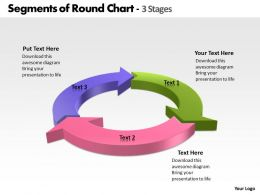 Segments of Round Chart 3 Stages powerpoint Slides templates
