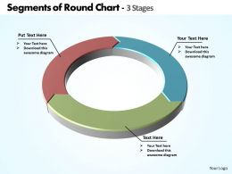 segments of round chart in ring shape 3 stages powerpoint diagram templates graphics 712