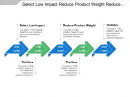 Select Low Impact Reduce Product Weight Reduce Packaging Weight