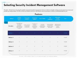 Selecting Security Incident Management Software Cost Ppt Powerpoint Presentation