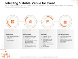 Selecting Suitable Venue For Event Distance Powerpoint Presentation Topics