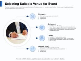 Selecting Suitable Venue For Event Indoor Venue Ppt Powerpoint Presentation Example Introduction