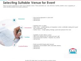 Selecting Suitable Venue For Event Ppt Powerpoint Presentation Pictures Designs Download