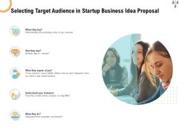 Selecting Target Audience In Startup Business Idea Proposal Ppt Powerpoint Presentation Gallery Microsoft