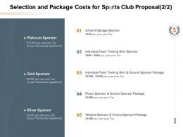 Selection And Package Costs For Sports Club Proposal L1628 Ppt Powerpoint Pictures