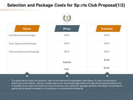 Selection And Package Costs For Sports Club Proposal Price Ppt Powerpoint Brochure
