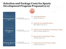 Selection And Package Costs For Sports Development Program Proposal Ppt Template