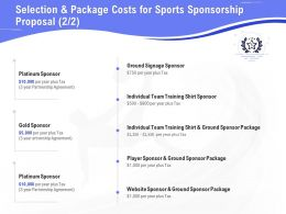 Selection And Package Costs For Sports Sponsorship Proposal Gold Ppt Download