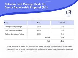 Selection And Package Costs For Sports Sponsorship Proposal Silver Ppt Outline