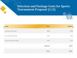 Selection And Package Costs For Sports Tournament Proposal Ppt Powerpoint File