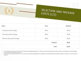 Selection And Package Costs Ppt Powerpoint Presentation Design Ideas