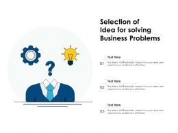 Selection Of Idea For Solving Business Problems