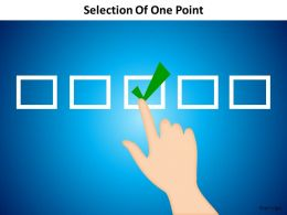 selection of one point using finger checked ticked marked powerpoint diagram templates graphics 712