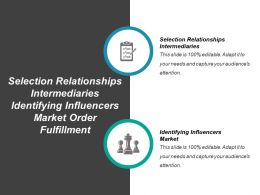 Selection Relationships Intermediaries Identifying Influencers Market Order Fulfillment