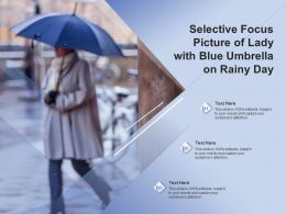 Selective Focus Picture Of Lady With Blue Umbrella On Rainy Day
