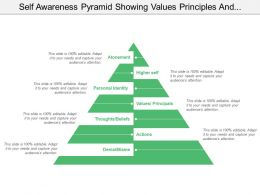 Self Awareness Pyramid Showing Values Principles And Actions