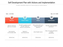 Self Development Plan With Actions And Implementation
