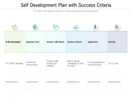 Self Development Plan With Success Criteria