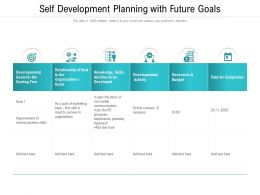Self Development Planning With Future Goals