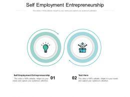 Self Employment Entrepreneurship Ppt Powerpoint Presentation Outline Elements Cpb