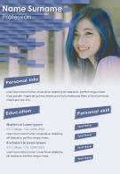 Self Introduction Creative Resume CV Sample With Personal Info And Skills