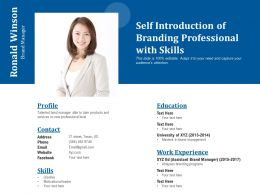 Self Introduction Of Branding Professional With Skills