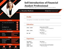 Self Introduction Of Financial Analyst Professional