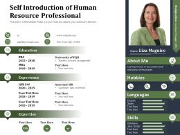 Self Introduction Of Human Resource Professional