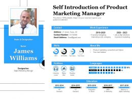 Self Introduction Of Product Marketing Manager