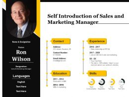Self Introduction Of Sales And Marketing Manager