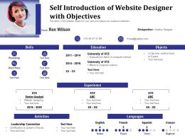 Self Introduction Of Website Designer With Objectives
