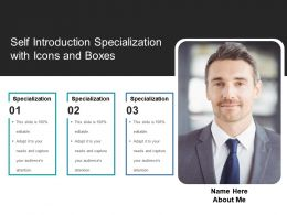 Self Introduction Specialization With Icons And Boxes