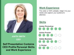 Self Presentation Contains Ceo Profile Personal Skills And Work Experience