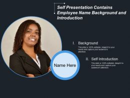 Self Presentation Contains Employee Name Background And Introduction
