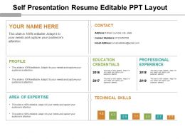 Self Presentation Resume Editable Ppt Layout