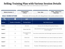 Selling Training Plan With Various Session Details