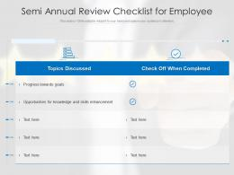 Semi Annual Review Checklist For Employee