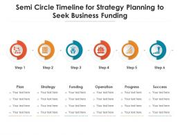Semi Circle Timeline For Strategy Planning To Seek Business Funding