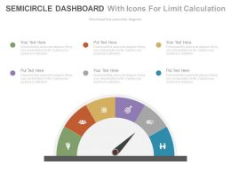 Semicircle Dashboard With Icons For Limit Calculation Powerpoint Slides