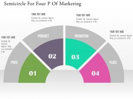 Semicircle For Four P Of Marketing Flat Powerpoint Design