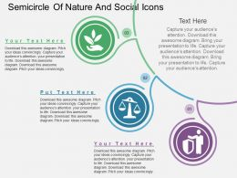 Semicircle Of Nature And Social Icons Flat Powerpoint Design