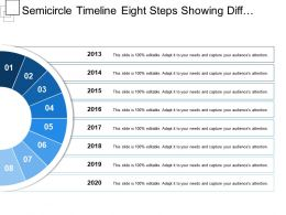 Semicircle Timeline Eight Steps Showing Different Colours