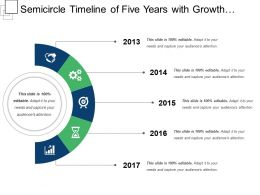 Semicircle Timeline Of Five Years With Growth Gear Globe Icons