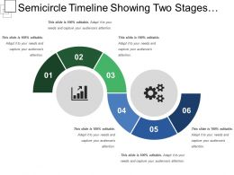 Semicircle Timeline Showing Two Stages Semicircle Diagram