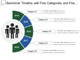 Semicircle Timeline With Five Categories And Five Years
