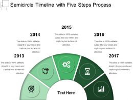 Semicircle Timeline With Five Steps Process