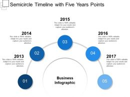 Semicircle Timeline With Five Years Points